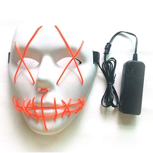 (dfhffghfdgjfh Halloween Maske LED Masken Glow Scary Maske leuchten Cosplay Maske Glow in Dark für Festival Music Party Kostüm Weihnachten (Weiß))