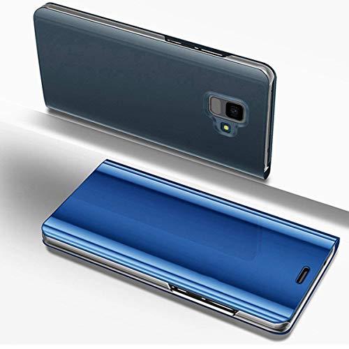 Hülle Kompatibel mit Samsung Galaxy A6 2018 Spiegelhülle Ledertasche Überzug Mirror Clear View Flip Cover Hülle Bookstyle Dünn Handyhülle Luxus Tasche Lederhülle Klapphülle,Blau
