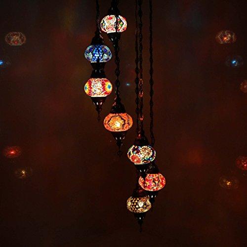 Handmade Turkish Mosaic Ceiling Chandelier Set, 7 Spiral Lantern Medium Globe, Tiffany Moroccan Style Hanging Pendant Lights by TK Bazaar (Amazonite)