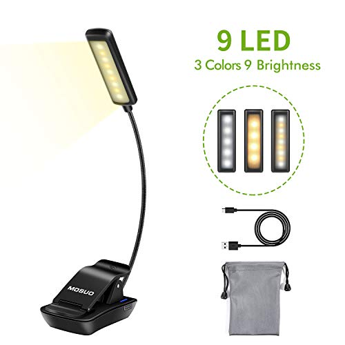 MOSUO 9 LED Leselampe Buch Klemme Buchlampe Wiederaufladbar Klemmleuchte mit 3 Licht (Warmes, Weißes und Warmweißes), 3-Stufe Helligkeit, USB Kabel, für Buch, Bett, Notenständer- Vertikale Kopf