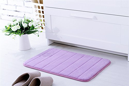 KEMAI Super saugstark Wasser Haushalt Badezimmer Rutschfest Mikrofaser Badematten Set mit Memory-Schaum., violett, 40x60 (Bedruckte Baumwolle Gummi Top)