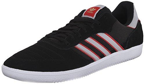 Adidas Seeley Black1 / runwht / black1 Skate Shoe 4 Us Black/Light Solid Grey/Collegiate Red