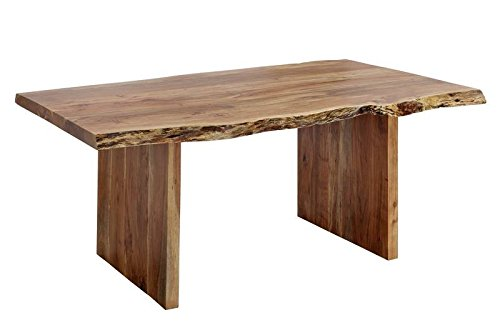Table extensible 180-240x110cm - Bois massif d'acacia laqué (Noisette) - Design Naturel - FREEFORM #200