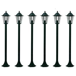 LAMPIONI DA GIARDINO LANTERNE 6X, H110 CM. VERDE SCURO ILLUMINAZIONE DA ESTERNO