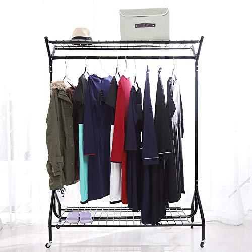 lyrlody Kleiderständer, Rollender Kleiderstange Garderobenständer mit doppelter Halteschiene und unterem Ablageboden, Metall