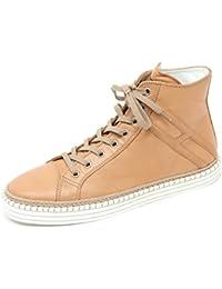 C7962 sneaker alta donna HOGAN REBEL R260 polacco H lunga cuoio shoe woman 5ec7761f9ff