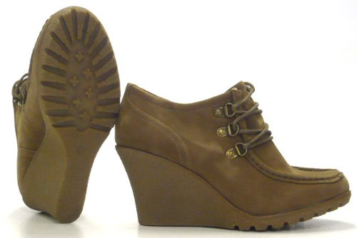 Schuh-City High Fashion Pumps Ancle Boots Wedge Moccasins Beige
