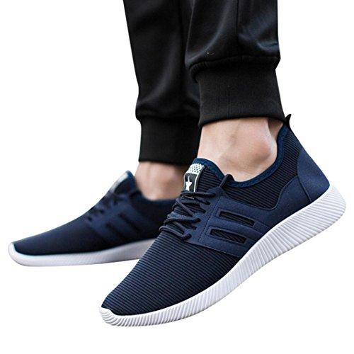 Herren Sneaker,Absolute Sportschuhe Männer Mode Freizeitschuhe Kreuz Gebunden Streifen Schuhe Gym Schuhe Atmungsaktiv Laufschuhe (38 EU, Blau) (Kreuz Winter-willkommen)