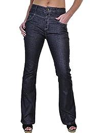 ICE (1500-1) Jeans en Denim ExtensibleÉvasé avec Brillant Noir