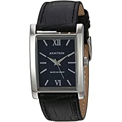 Armitron Men's 20/5118BLSVBK Silver-Tone and Black Croco-Grain Leather Strap Watch