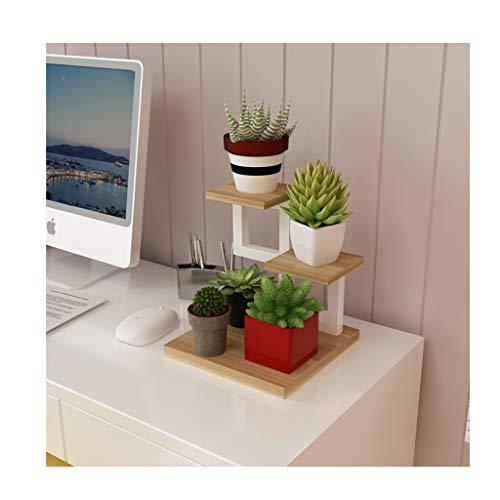 Serie de Madera de Acero, pequeño Soporte de Flores de múltiples Capas para Interiores de múltiples Capas de Hierro Forjado (Color : B)
