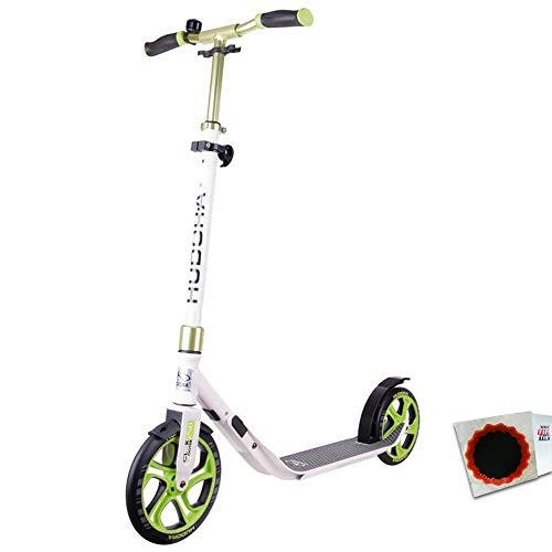 "HUDORA City Scooter CLVR 10\"" 250mm CLVR Faltmechanismus Weiss grün + Flicken"