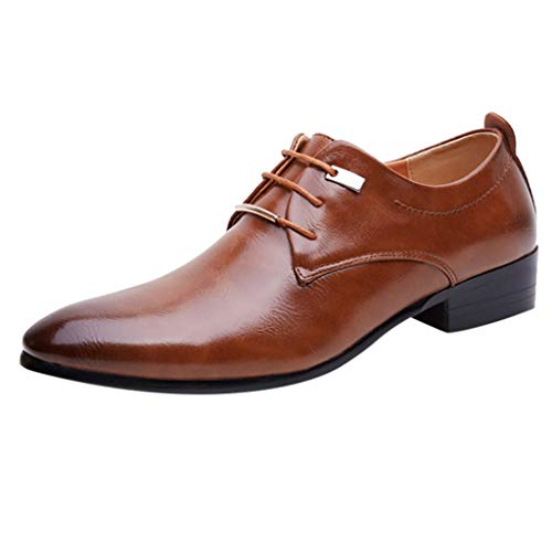 Magiyard Chaussures Homme Business Chaussure De Mariage Homme Chaussures Basse Cuir Homme Chaussures Homme Noir Pointue Derbys Homme Chaussures en Cuir Homme Pas Cher Marron 45