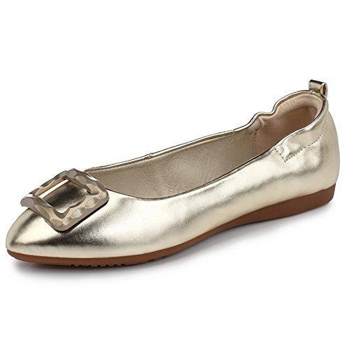 VogueZone009 Damen Rein PU Leder Ohne Absatz Rund Zehe Ziehen auf Flache Schuhe, Blau, 39