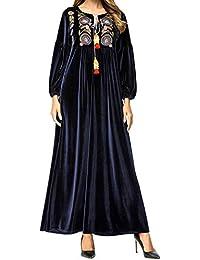 Qianliniuinc Inverno Ricamo Abiti Elegante Donna-Casuale Manica Lunga Abaya  Donna Islamico Vestito Lungo Maxi d2cf244329b