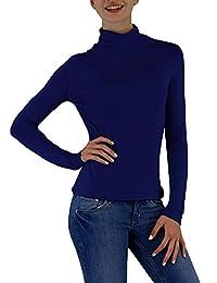 S&LU toller Damen Basic-Rolli / Rollkragen-Langarm-Shirt in in vielen schönen Farben wahlweise in Größe 34-38 oder 40-44