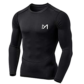 MEETYOO Men's Compression Shirt, Base Layer Top Long Sleeve T-Shirt Sports Gear Fitness Tights for Running Gym Workout 1