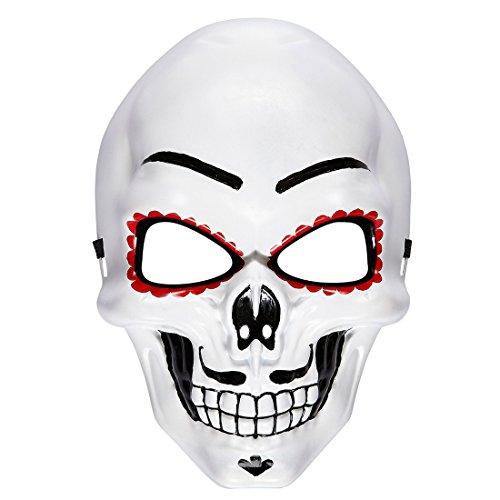 Amakando La Catrina Todesmaske Skelett Maske Sugar Skull Mexikanische Totenmaske Dia de los Muertos Totenkopfmaske Tag der Toten Halloween Todesmaske Schädel Horrormaske