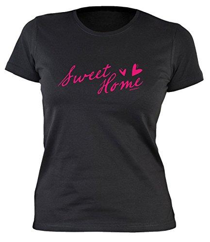 Lustiges Damen Partyshirt / Frauen Sprüche Shirt : Sweet Home -- Damenshirt Heimat Farbe: schwarz Schwarz