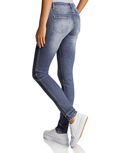 oodji Ultra Donna Jeans Skinny a Vita Media Blu (7519F)