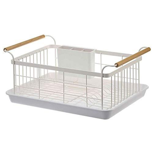 Trockengestell für Küchenarbeitsplatten und Spüle - Abtropfgestell mit Körben, Tropfschale für Teller, mit vollmaschigem Ablagekorb, Holzgriff