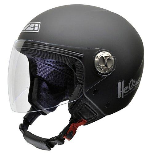 NZI 050203G067 Helix IV Metal Motorcycle Helmet Black Rubber, Size 54 (XS)