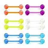 Funseedrr 6 Paar Zungenpiercing Barbell Set Bioflex Kunststoff Leuchten im Dunkeln 12/14/16/18mm Piercing Zunge