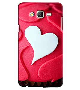 Omnam White And Red Heart Pattern Printed Designer Back Cover Case For Samsung Galaxy On 7