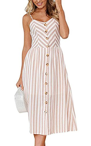 Angashion Damen V Ausschnitt Spaghetti Buegel Blumen Sommerkleid Elegant Vintage Cocktailkleid Kleider, Größe: XL, Farbe: 0895 Hell Kaffee