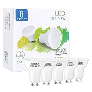 Aigostar - LED Bulb 8W GU10, Cold White Light 6400K, 600lumen, 8W Equivalent to 60watt Incandescent lamp, CRI≥80Ra, 120-160 Degree Beam Angle, 25000 Hours Life time, 5 pcs/Color Box [Energy Class A+]