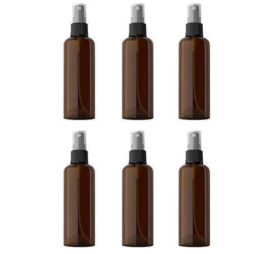 100ml feinen Nebel Spray-Flaschen leeren durchsichtigem Kunststoff Mehrwegflasche für Ätherische Öle Köln Parfüm Brown 6Pcs - Köln Parfüm Öl
