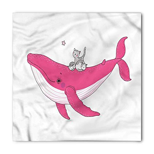 Whale Bandana, Three Cats Big Fish Magic, Unisex Bandana Head and Neck Tie Neckerchief Headdress Silk-Like 100% Polyester