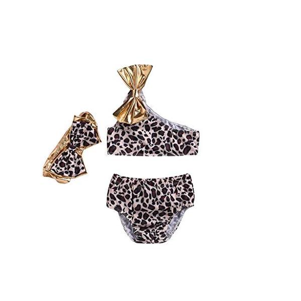 Heetey - Traje de baño para niña, diseño de Leopardo con Arco de Verano 1