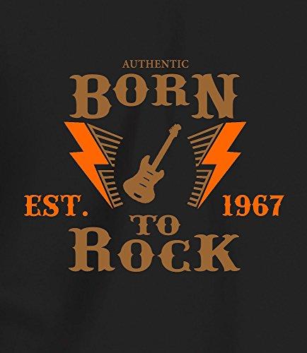 """""""Born to Rock, Est. 1967"""" - Geschenk T Shirt zum 50. Geburtstag, Damen Braun/Orange Druck"""