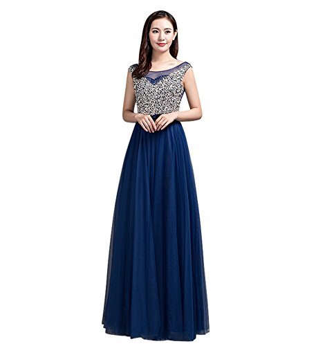 Drasawee Damen Empire Kleid Blau