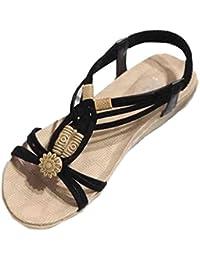 Sandalias de mujer Verano Moda Bohemia Dulce Con cuentas Plano Casual Sandalias con punta de clip Zapatos de playa LMMVP