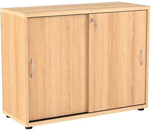 Büroeinrichtung Büromöbel Büro Buche hell Eckschreibtisch Bürocontainer Aktenschrank Regal Ordner Schrank mit Schiebetüren abschliessbar (Schiebetürenschrank 76 cm)