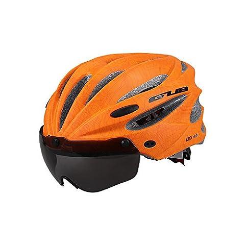 Fahrradhelm Mit Schutzbrille Reiten Reihe Brille Helm Mountainbike Magnetische Art Brille Helm , vibrant orange