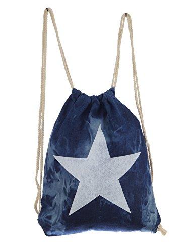Imagen de turn bolsa hipster bolsa de deporte jeans butel bolsa  bolsa bolsa de bordar con estrella bolsa de deporte azul, color azul vaquero, tamaño small