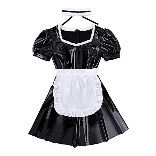 dPois Damen Lackleder Dienstmädchen Maid Uniform Faltenkleid mit Satin Zubehör Französisch Cosplay Kostüm Verkleidung Beruf Rollenspiel Schwarz Small (Französisch Maid Kostüm Zubehör)