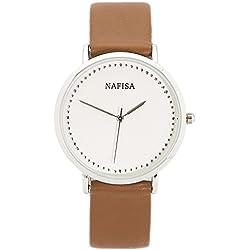 Chronomart Nafisa Women's Fashion White Dial Coffee Brown Leather Strap Wrist Watch NA-0058