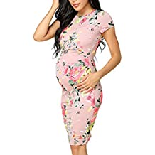 GUCIStyle Vestidos Premamá Estampado Flores, Mujer Ropa Embarazadas Vestido de Maternidad en Manga Corta para