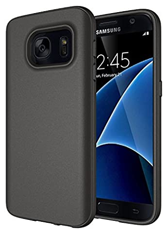 Samsung Galaxy S7 Case - Diztronic Full Matte TPU Series - Slim-Fit Soft Touch Flexible Phone Case - Full Matte Charcoal Gray