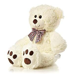 Lumaland Plüsch Teddybär Kuschelbär Kuscheltier mit Kulleraugen 50 cm Beige