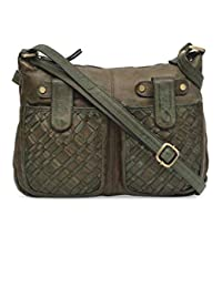 fa1c86c88d3b Annodyne Leather Side Sling Bag for Women cum leather handbag (Green) (pure  leather