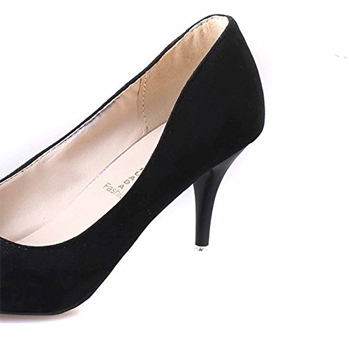 Chaussures à talon aiguille confortables pour femme Suède Bout pointu Noir