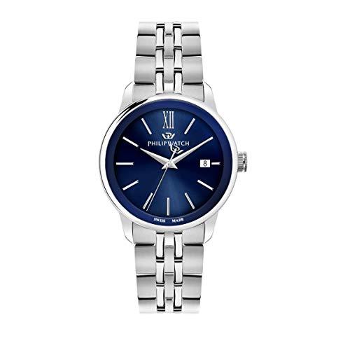 Philip Watch R8253150007 Montre à Quartz pour Homme avec Affichage de l'heure et de la Date en Acier Inoxydable