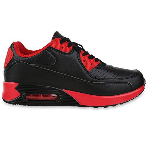 Damen Herren Unisex Sportschuhe Profil Sohle Laufschuhe Fitness Runners Schwarz Rot