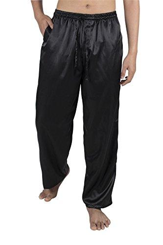 Lofbaz Herren Klassische Seide Satin Lange Pyjama PJ Lounge Hosen S-5XL Plus Feste Schwarz L (Satin-hose Schwarze)