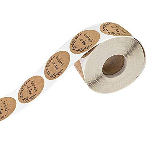 500 Blätter Love Aufkleber Handmade with Love 1 Zoll Rundes Natürliches Kraftpapier Olivenzweig Aufkleber Label
